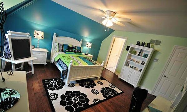 schlafzimmer farben ideen wandfarben blau und grün