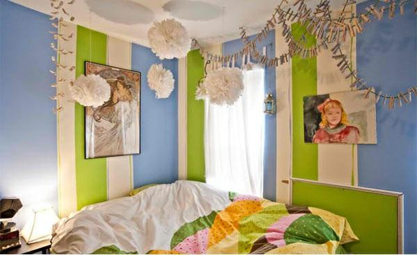 schlafzimmer farben ideen wandgestaltung streifenmuster blau und grün