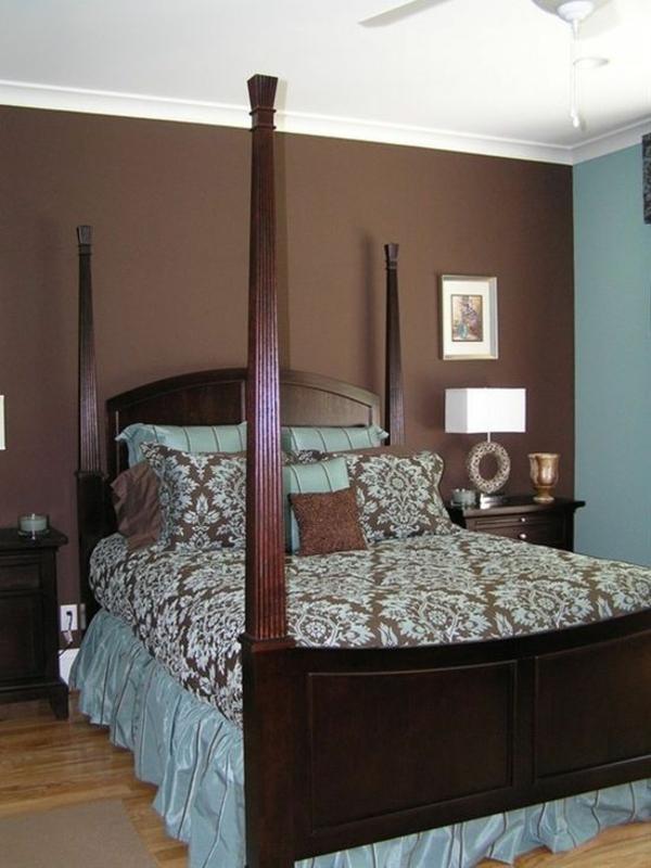 Schlafzimmer Farbideen Braun Blau Himmelbett