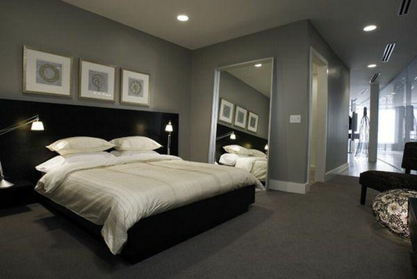 Schlafzimmer Farbideen In Grau Bett Holz Bett Kopfteil