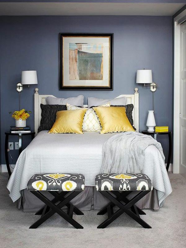 schlafzimmer farbideen modern blau wandgestaltung akzente