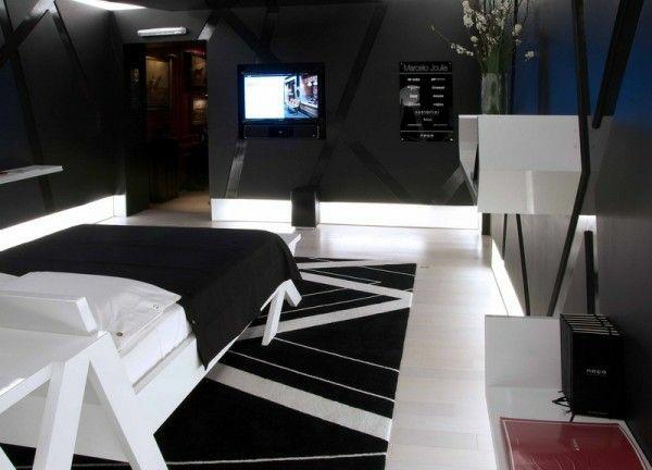 schlafzimmer farbideen schwarzweiß bett teppich