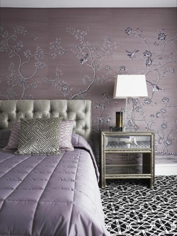 schlafzimmer farbideen zartes rosa wandtapete
