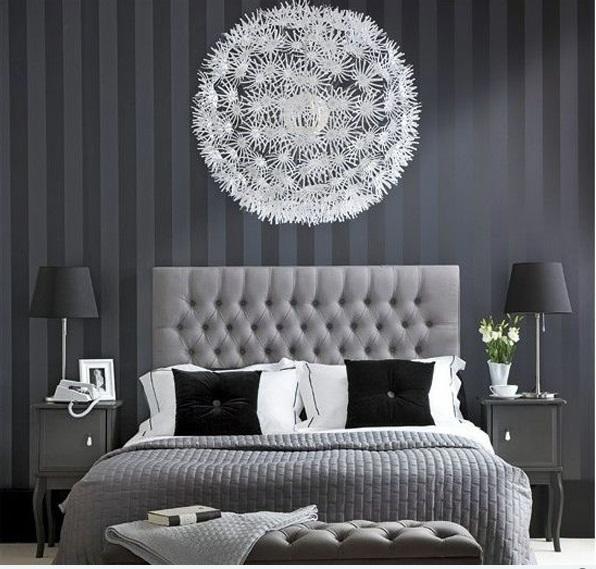 schlafzimmer ideen in schwarz-weiß graue streifen bett