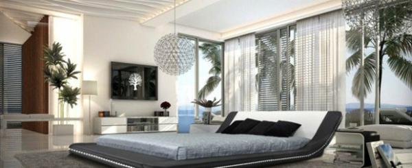 schlafzimmer ideen in schwarz-weiß großer raum bett pendelleuchte