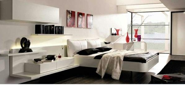 schlafzimmer ideen in schwarz-weiß modern wand art bett rote akzente