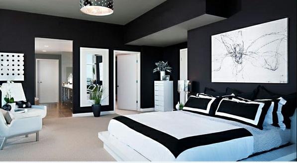 schlafzimmer ideen in schwarz-weiß stilvoll bett dekoration