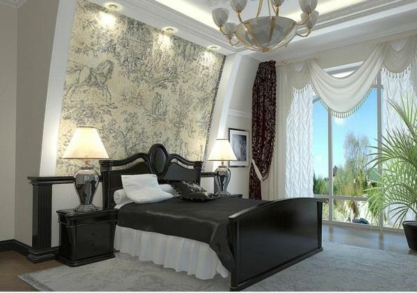 schlafzimmer ideen in schwarz-weiß tolle wandgestaltung beleuchtung