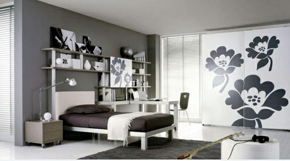 schlafzimmer ideen schwarz-weiß modern schrank mit blumenmuster