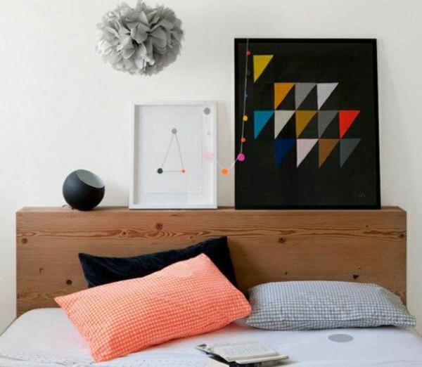 schlafzimmer kopfteil bunt gepolstert urban geometrisch