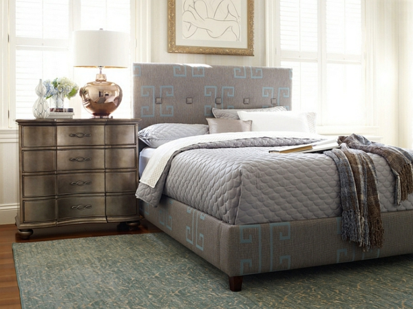 schlafzimmer möbel lampen und leuchten bett nachttisch elegante stehlampe kupfer oberfläche