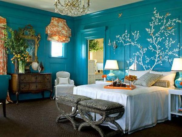 schlafzimmer wand farbe lagune wandgestaltung bett bettbank