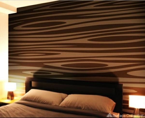 Schlafzimmerwand Gestalten Bett Wandtapete Braun