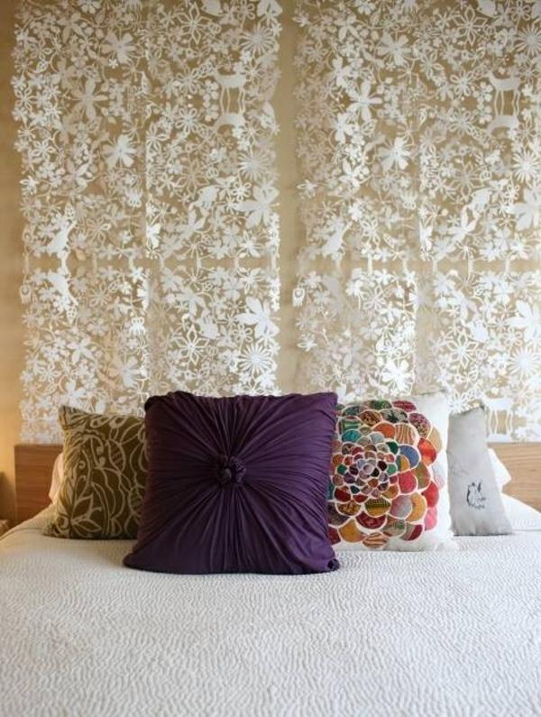 schlafzimmerwand gestalten - kreative dekoideen - Deko Ideen Schlafzimmer Wand