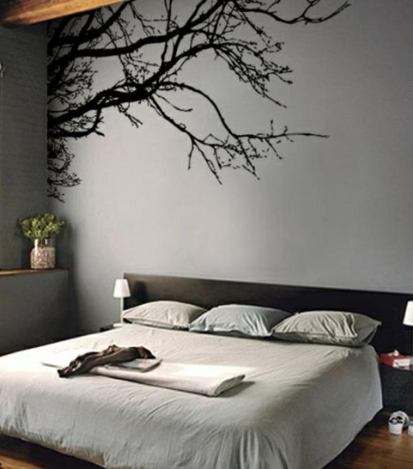 wonderful schlafzimmer wand mit farbe gestalten #2: schlafzimmerwand gestalten wandtattoo schick