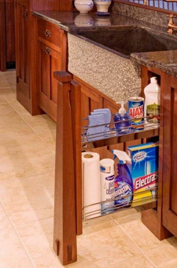 schubladeneinteilung küche ideen reinigungsmittel