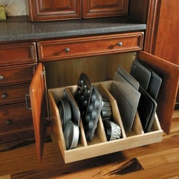 schubladeneinteilung küche praktische ideen backblech