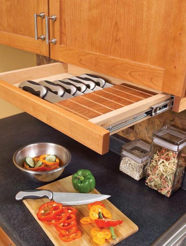 schubladeneinteilung küche ideen für messer holzküche