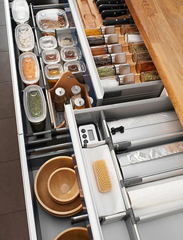schubladeneinteilung küche praktische ideen organisation