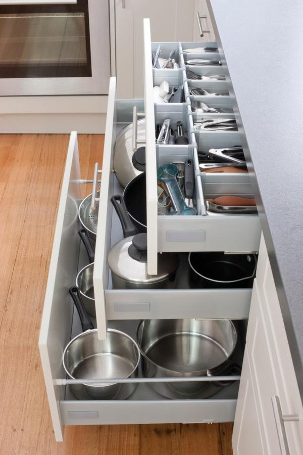 schubladeneinteilung küche praktische ideen töpfe und besteck