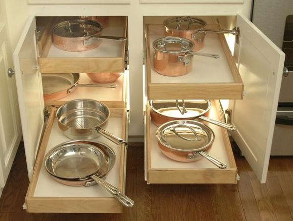 schubladeneinteilung küche praktische ideen töpfe und pfannen