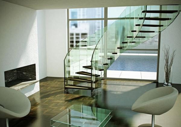 schwebende treppen aus glas dekoideen korridor tisch