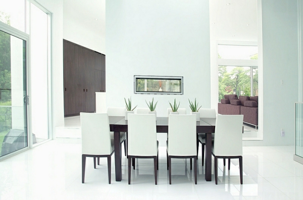 speisezimmer esszimmer in weiß modern minimalistisch eingerichtet