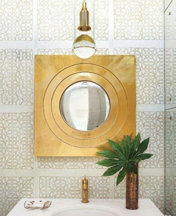 spiegel led wand bad golden textur