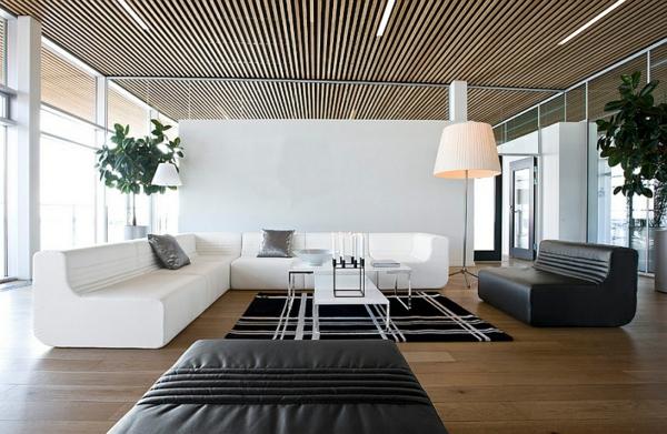 standleuchten wohnzimmer sofa holzboden moderne architektur
