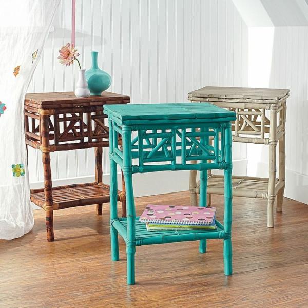 stilvolle rattanmöbel farbige beistelltische thematisch