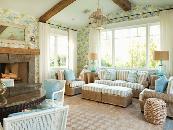 stilvolle rattanmöbel wohnzimmer sofa tisch neutrale farben
