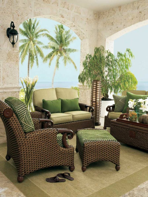 stilvolle rattanmöbel wohnzimmer strand isnpiriert sofa tisch