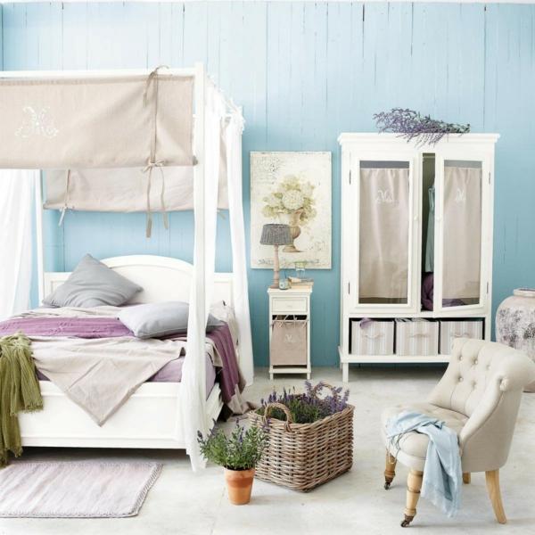 wandfarbe taubenblau - wandgestaltung ideen mit blauen farbtönen - Wandfarbe Wohn Und Schlafzimmer