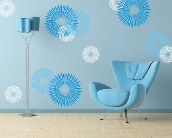 Wandfarbe Taubenblau – Wandgestaltung Ideen mit blauen Farbtönen