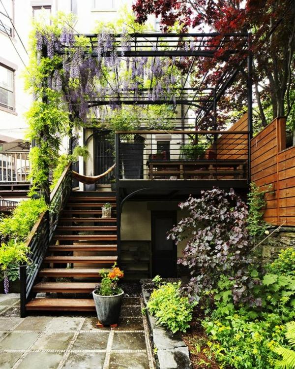 terrassengestaltung diy pergola treppe glyzinie