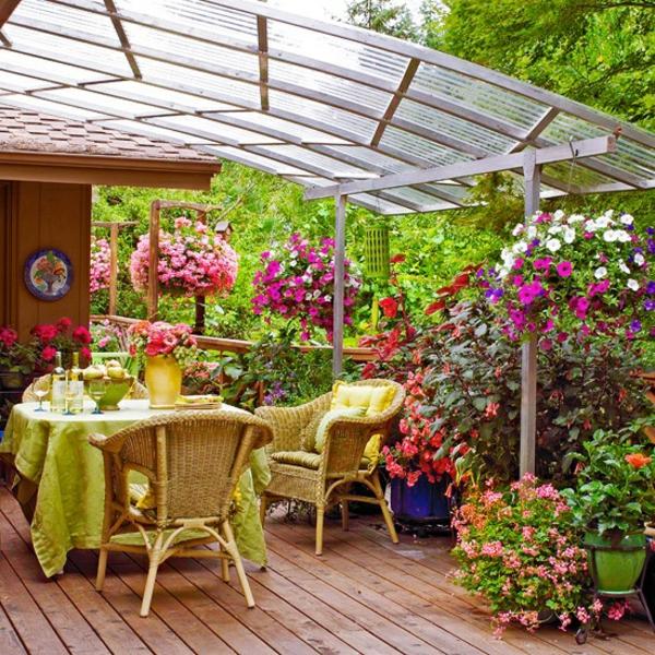 terrassengestaltung ideen patio pergola dach