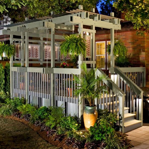 terrassengestaltung ideen pergola holztreppe