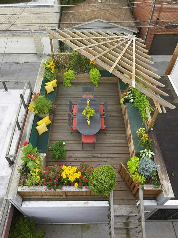 terrassengestaltung ideen pergola sitzecke blumen