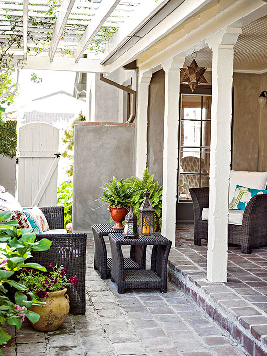 terrassengestaltung ideen veranda rattan gartenmöbel orientalischer stil