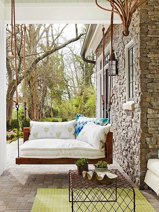 terrassengestaltung ideen veranda schaukel möbel entspannungsecke