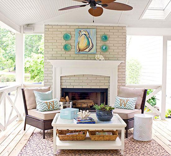 terrassengestaltung ideen veranda wintergarten kamin rattan gartenmöbel