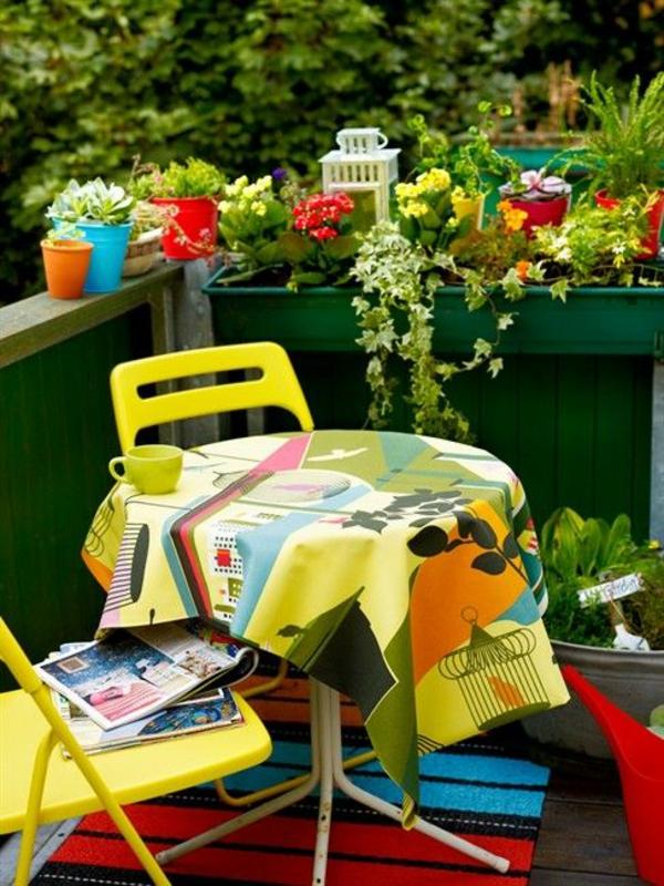 terrassengestaltung patio farbig saftige farben terrassenteppich pflanzen