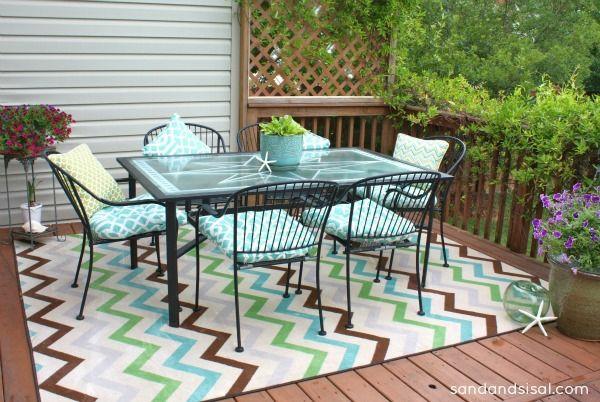 terrassengestaltung patio terrassenteppich tisch