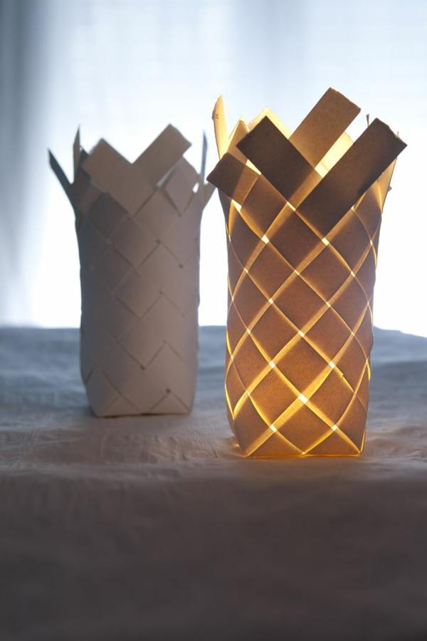 tischlampen papierlampen weiß gewebt