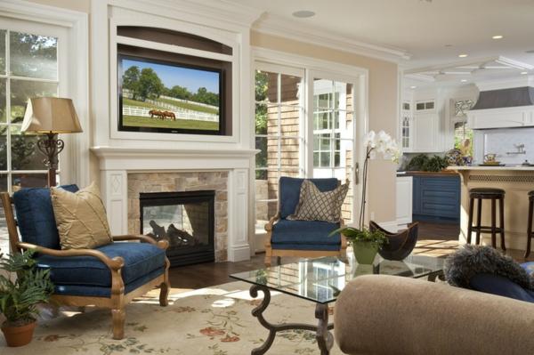 traditionelles wohnzimmer feuerstelle dekoideen tv sessel tisch