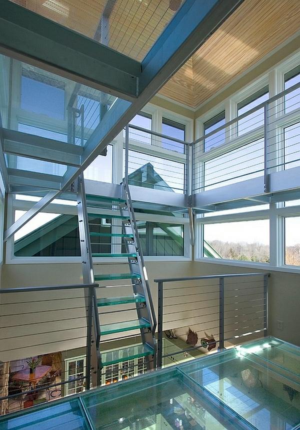 treppe glas metall elemente interior design ideen