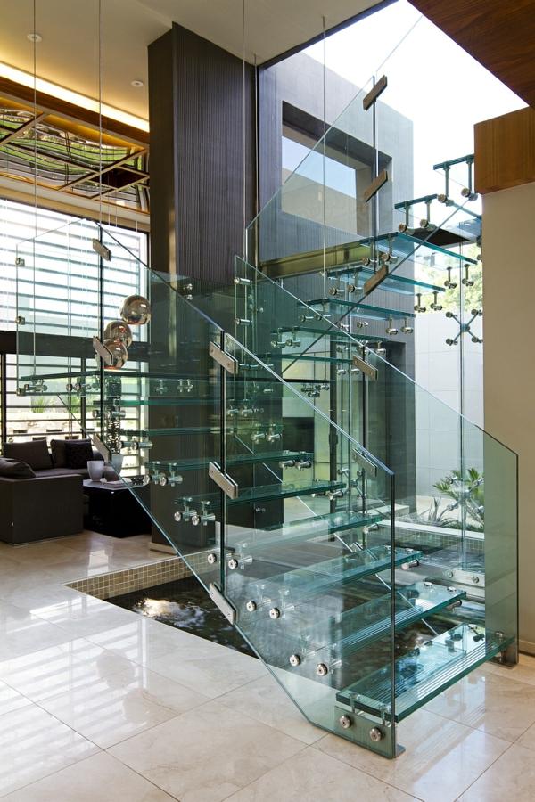 treppen und geländer aus glas wohnzimmer design ideen