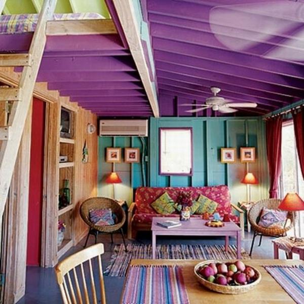 tropische wohnzimmer farbideen kolorit decke
