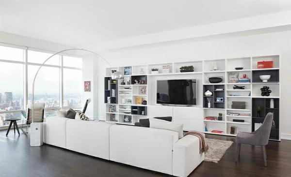 tv wohnwand anbauwand wohnzimmer weiß offene regale flachbildschirmfernseher