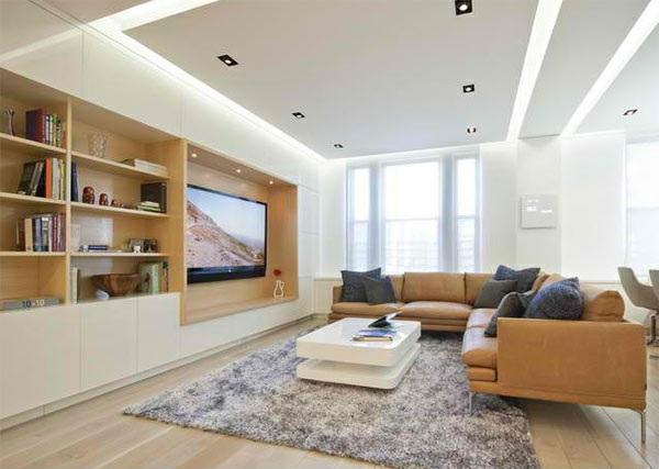 wohnzimmer ideen tv wand:Man hat ein breites TV in die Wand eingebaut. Sie wirkt wie eine